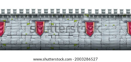 Ancient castle stone seamless background, brick medieval city wall, fortress gray cracked texture. Game fortification illustration, red standard, old town border. Stone wall architecture front view Photo stock ©