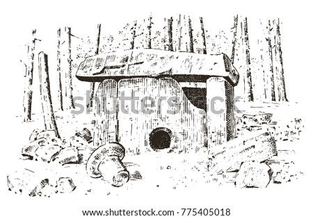 ancient cave. prehistoric house ...