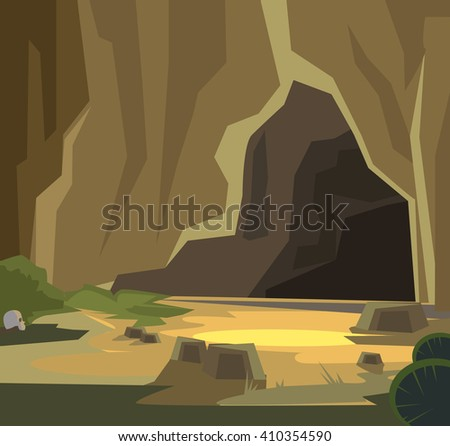 ancient cave vector flat