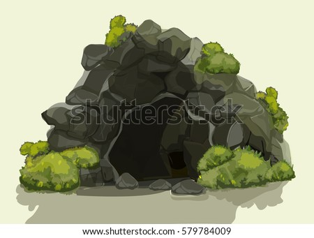 ancient cave with green bushes