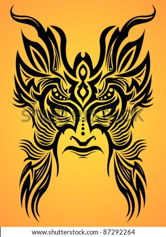 Ancient ceremony mask - tribal - tattoo - stock vector