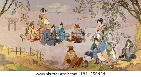 Ancient China and Japan. Oriental people. Tea ceremony. Samurai warrior and geisha. Traditional paintings. Tradition and culture of Asia. Classic wall drawing. Murals and watercolor asian style