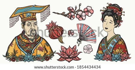 Ancient China. History and culture. Asian art. Traditional tattooing style. Old school tattoo vector collection. Chinese emperor, queen in traditional costume, fan, red lantern, lotus flower Сток-фото ©