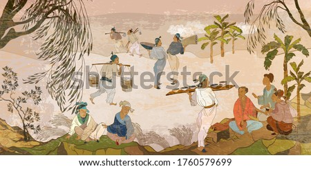 Ancient China. Oriental people. Tea ceremony. Old village, peasants. Traditional Chinese paintings. Tradition and culture of Asia. Classic wall drawing. Murals and watercolor asian style Stockfoto ©