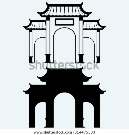 ancient chinese gate isolated