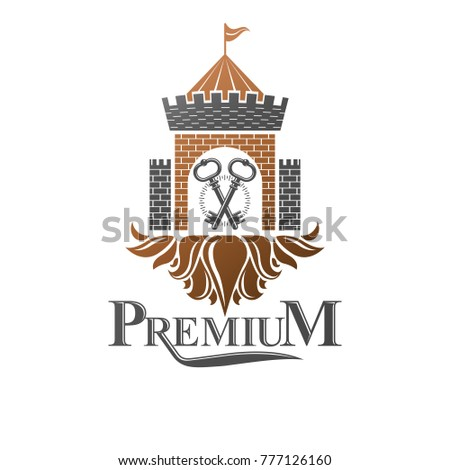 Ancient Citadel emblem. Heraldic vector design element. Retro style label, heraldry logo. Ornate logotype on isolated white background.