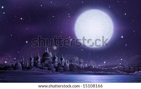 Ancient city under full moon (other landscapes are in my gallery)