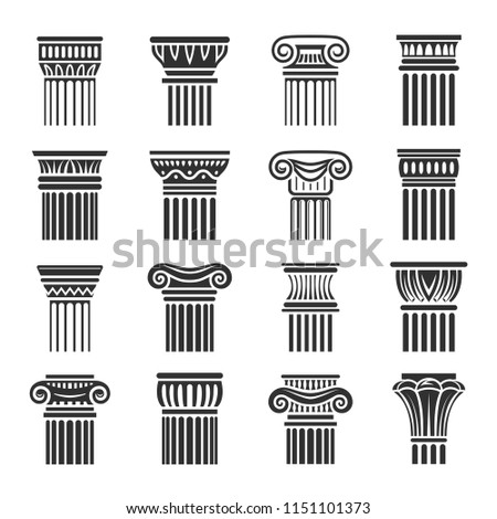 ancient columns icon in black