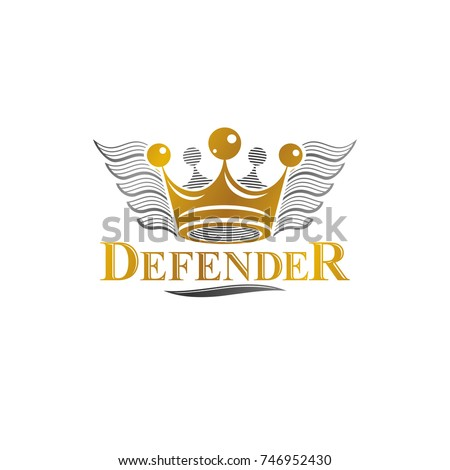 Ancient Crown emblem. Heraldic vector design element. Retro style label, heraldry logo. Ornate logotype isolated on white background.