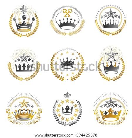 ancient crowns emblems set