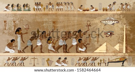 Ancient Egypt art. Paleocontact frescoes. First contact. Spaceship UFO over pyramids. Aliens and egyptians. Ancient astronauts visited Earth, old stone murals