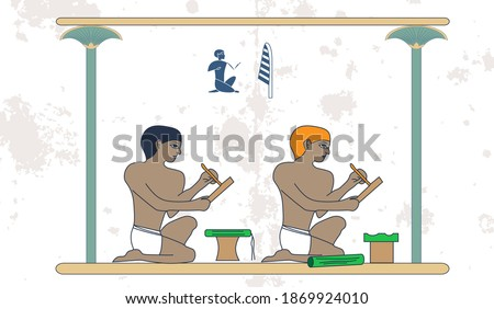 Ancient egypt background. The scribe at work. Historical background.Ancient people. Egypt murals, Ancient Egypt people