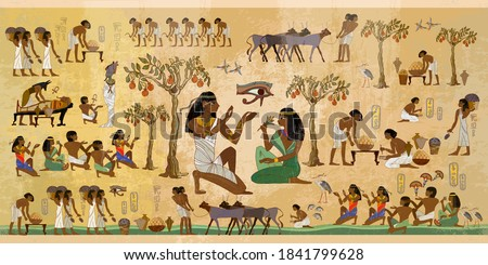 Ancient Egypt frescoes. Agriculture, fishery, farm. Old tradition, religion and culture. Hieroglyphic carvings on exterior walls of an old temple. Life of egyptians. History art Stock photo ©