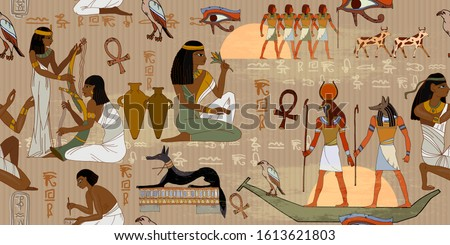 Ancient Egypt frescoes. Horizontal seamless pattern. Life of egyptians. Agriculture, workmanship, farm. History art. Hieroglyphic carvings on exterior walls of an old temple Stock photo ©