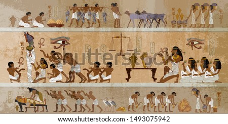 Ancient Egypt frescoes. Life of egyptians. History art. Hieroglyphic carvings on exterior walls of an old temple. Agriculture, workmanship, fishery, farm