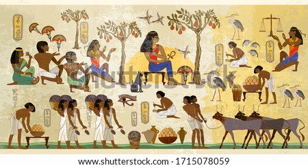 Ancient Egypt frescoes. Old tradition and culture. Life of egyptians. History art. Agriculture, workmanship, fishery, farm. Hieroglyphic carvings on exterior walls of an old temple Stock photo ©