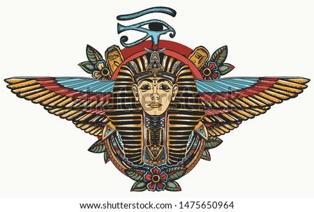 Ancient Egypt. Golden Pharaoh, Sun eye and wings Horus god. Egyptian great king. Tutankhamen. Color tattoo. Print for t-shirt design