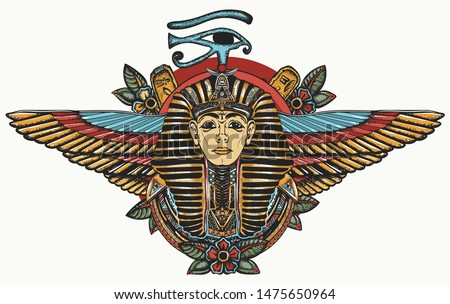 Ancient Egypt. Golden Pharaoh, Sun eye and wings Horus god. Egyptian great king. Tutankhamen. Color tattoo. Print for t-shirt design Stock photo ©