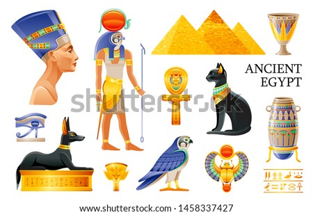 Ancient Egypt icon set. 3d Ra sun God, Nefertiti, Cleopatra queen, pharaoh pyramid, lotus vase, eye, scarab, Bastet cat, ankh coptic cross, Horus falcon, Anubis dog tomb. Cartoon Vector Egypt old art