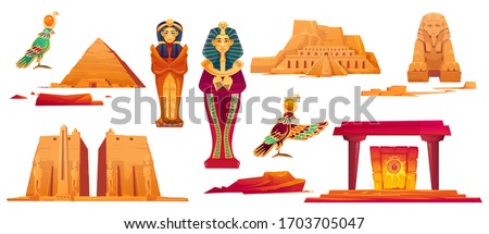 Ancient Egypt landmarks. Vector icons set of sculptures of egyptian gods, sphinx, pyramid and golden sarcophagus of pharaoh and queen. Historical temples and obelisk isolated on white background Stock photo ©