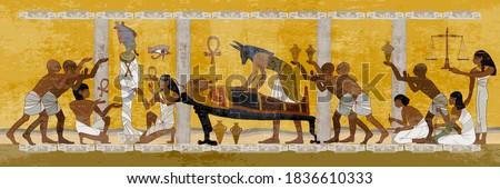 Ancient Egypt. Mummification process. Anubis and pharaoh sarcophagus. Egyptian gods, mythology. Concept of a next world. Hieroglyphic carvings. History wall painting, tomb King Tutankhamun