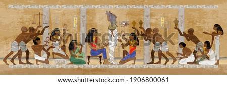 Ancient Egypt. Mummification process. Hieroglyphic carvings. History wall painting, tomb King Tutankhamun. Concept of a next world. Pharaoh sarcophagus. Egyptian gods, mythology