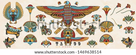 Ancient Egypt. Old school tattoo collection. Egyptian culture elements. Sacred scarab, Horus falcon, pyramids, magic eye, ethnic ornaments. Traditional tattooing style