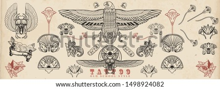 Ancient Egypt. Old school tattoo collection. Sacred scarab, Horus falcon, pyramids, magic eye, ethnic ornaments. Egyptian culture elements. Traditional tattooing style