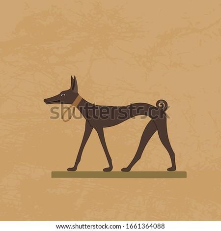 Ancient Egypt. Pharaoh Hound. A kelb tal-Fenek. Egyptian hieroglyphic carvings, frescoes, mythological scenes, gods and pharaohs. Egypt background, vector illustration. Stock fotó ©