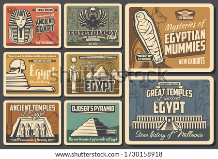 Ancient Egypt retro vector posters. Cairo pyramids travel, Egyptian mummies, Pharaoh mysteries. Egyptology exhibition and museum, god temples and monuments, vintage Egypt landmarks and sightseeing Stock photo ©