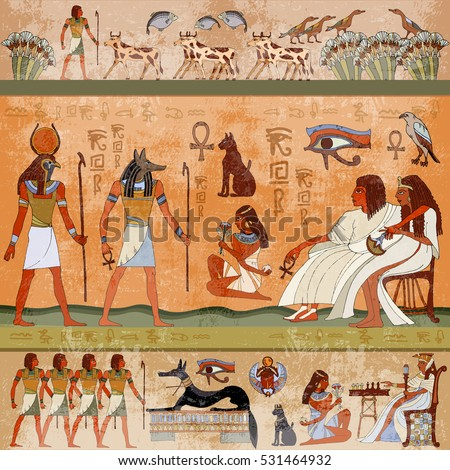 Ancient egypt scene. Murals ancient Egypt. Hieroglyphic carvings on the exterior walls of an ancient egyptian temple. Grunge ancient Egypt background. Hand drawn Egyptian gods and pharaohs
