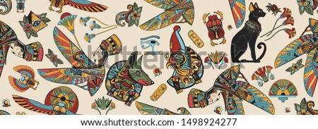 Ancient Egypt seamless pattern. Anubis, Ra horus, black cats, queen Cleopatra, eye Horus. History art. Egyptian civilization background. Old school tattoo style Stock photo ©
