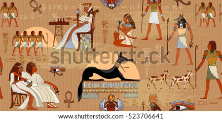 Ancient Egypt seamless pattern. Hieroglyphic carvings on the exterior walls of an ancient egyptian pattern. Murals ancient Egypt. Grunge Egypt background. Egyptian gods and pharaohs seamless pattern