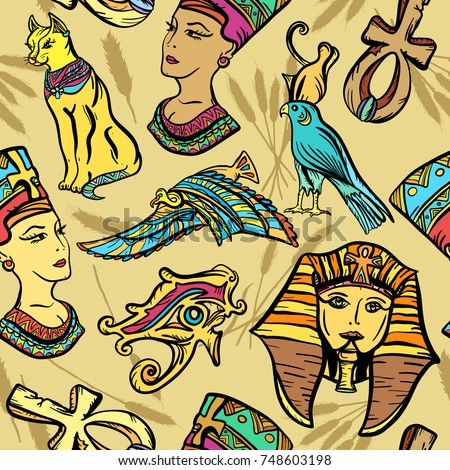 Ancient Egypt seamless pattern, old school tattoo. Pharaoh, ankh, eye Ra, Nefertiti, cat. Ancient Egypt art pattern. Classic flash tattoo style Egypt, patches and stickers