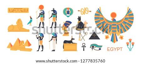 Ancient Egypt set - gods, deities of Egyptian pantheon, mythological creatures, sacred animals, holy symbols, hieroglyphs, architecture and sculpture. Colorful flat cartoon vector illustration.