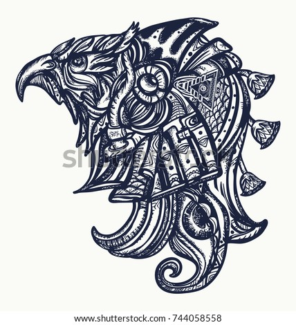 Ancient Egypt tattoo and t-shirt design.Horus gods, eye of Ra, symbol of ancient civilization