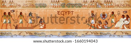 Ancient egypt. Template for design. Hieroglyphic carvings on the exterior walls temple. Gods and people. Old history and culture. Hand drawn vector. Grunge background