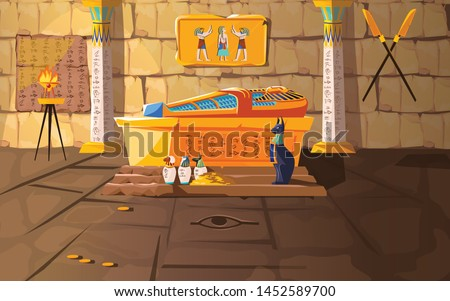 Ancient Egypt tomb of pharaoh cartoons vector illustration. Egyptian pyramid interior with golden sarcophagus, hieroglyphs and mural, ritual vases and other religious symbols, treasure Stock photo ©
