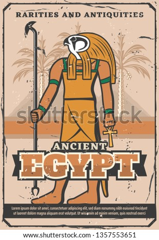 Ancient Egypt treasure, rarity souvenirs and antiquities shop vintage poster. Vector Egypt landmarks travel trips and culture sightseeings, Cairo pyramids, palms and god Ra