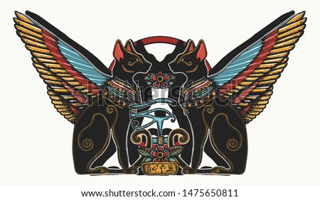 Ancient Egypt. Two winged black cats, sacred eye of god Horus and star gate. Egyptian art, occult t-shirt design. Color tattoo