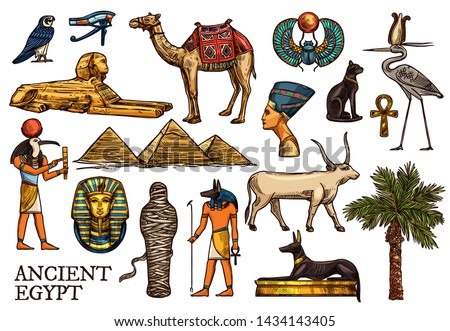 Ancient Egypt vector sketches of religion, travel symbols. God Anubis, pharaon pyramids and sphinx, ankh, mummy and Horus eye, scarab, Tutankhamun, black cat, dog and Nefertiti, heron, falcon, camel