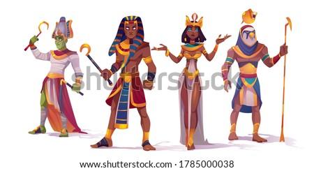 Ancient Egyptian god Amun, Osiris, Pharaoh and Cleopatra. Vector cartoon characters of Egypt mythology, king and queen, god with falcon head, Horus and Amon Ra
