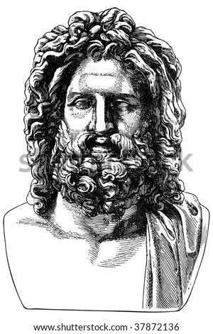 Ancient engraving of the Greek philosopher - stock vector