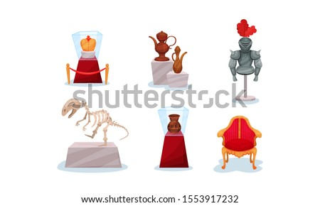 Ancient Exhibits of the Historical Museum Vector Illustration Set Isolated On White Background