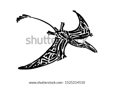 Ancient extinct jurassic eudimorphodon dinosaur vector illustration ink painted, hand drawn grunge prehistoric flying pterosaur reptile, black isolated silhouette on white background.
