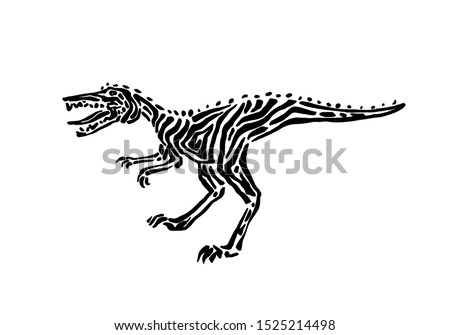 Ancient extinct jurassic velociraptor dinosaur vector illustration ink painted, hand drawn grunge prehistoric reptile, black isolated raptor silhouette on white background.