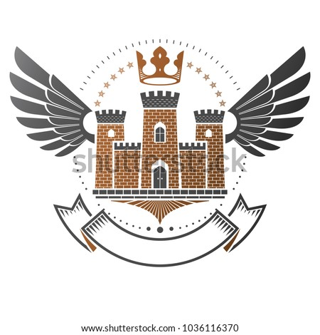 Ancient Fort emblem. Heraldic Coat of Arms decorative logo isolated vector illustration. Ornate logotype in old style on white background.