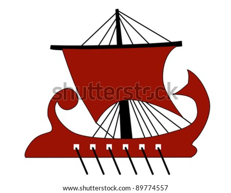 ancient galley silhouette, vector illustration