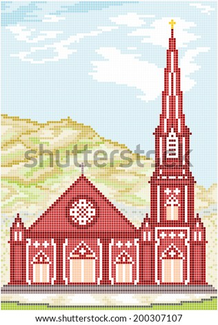 Ancient Gothic Style Church - Illustration of an ancient gothic style Christian church with a tower against the backdrop of a mountain. Square pixels of various colors have been used.