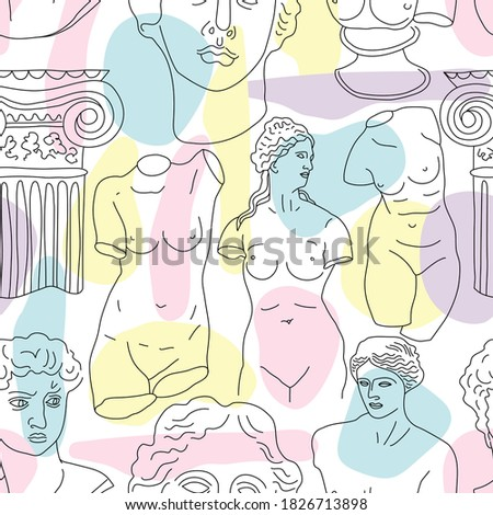 Ancient Greece and Rome set tradition and culture vector seamless pattern. The linear trend of the ancient surface pattern, Ancient Greece and Ancient Rome.